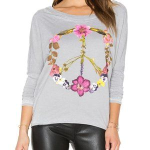 Chaser Wild Flower Peace Sign Tee Grey Burnout Top